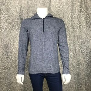 lululemon athletica Shirts - Lululemon Heathered Blue/Gray 1/2 Zip Hoodie Large